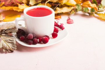 Autumn concept with red cranberry beverage with dry leaves. Cozy home. Copy space