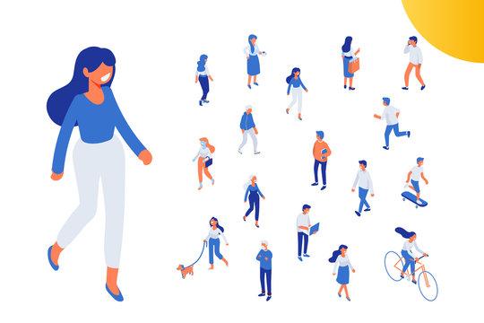 Flat isometric girl walking. Isometric people vector set. Flat vector characters isolated on dark background.