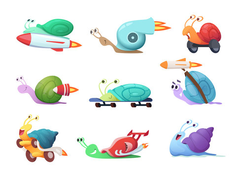 Snails cartoon characters. Slow sea slug or caracoles vector illustrations. Speed and fast snail character, slime insect collection