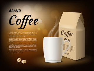 Coffee advertising. Poster design template with illustrations of coffee mug. Vector coffee cup, hot beverage product