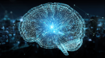 Wall Mural - Digital 3D projection of a human brain 3D rendering