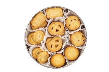 Foto op Aluminium Koekjes An overhead photo of Danish butter cookies in the traditional tin box, isolated on a white background with a clipping path