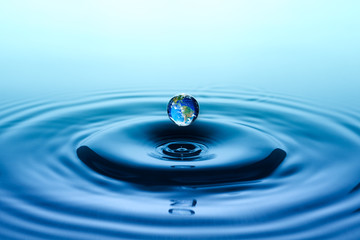 Falling drop of water with earth image