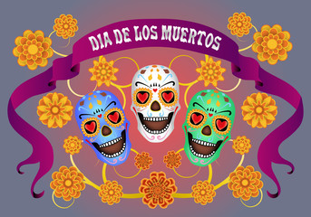 Dia de los Muertos, Day of the Dead, banner with vintage ribbon and the text, color sculls and flowers. Black blue background. Vector illustration.
