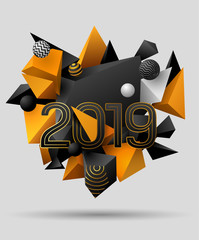 3d Black and yellow geometric elements with the text 2019. New year's greeting card. Eps10 vector