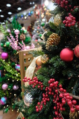 Christmas tree with sparkle ball decoration preparation