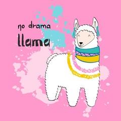 Hand drawn card with cartoon llama. No drama llama