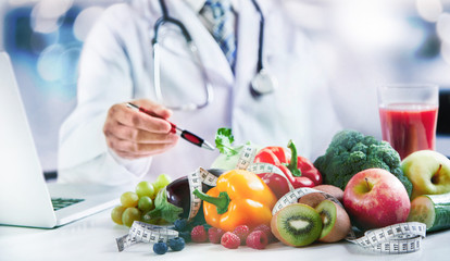 Modern doctor or pharmacy agent contact for healthy food and diet