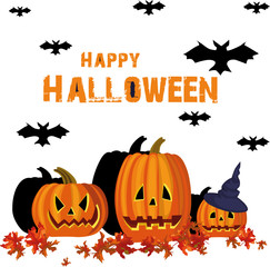 Happy Halloween.  Pumpkins and bats silhouette. Vector illustration.