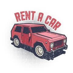Car rental - old school emblem in vintage style. Grunge worn texture on separate layer.