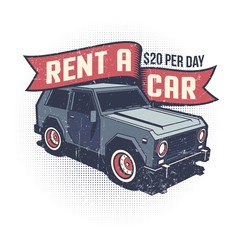 Car rental retro logo with SUV. Grunge worn texture on separate layer.