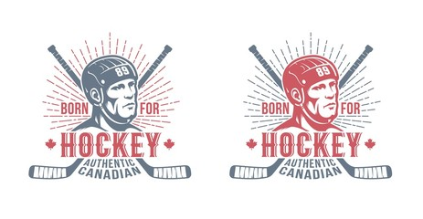 Hockey canadian badge with player and sticks in two colors. Retro vintage style.