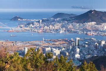 Busan city, South Korea. Aerial view