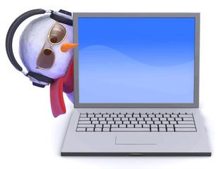 Vector 3d Snowman in headphones with laptop