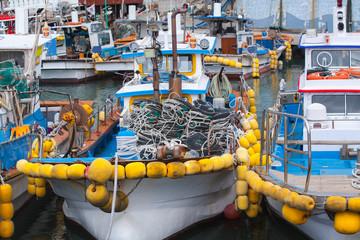 Fishing boats with yellow floats, Busan