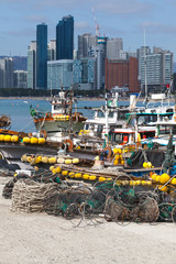 Cityscape of Busan with fishing boats