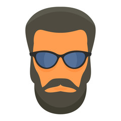 Hipster man face icon. Flat illustration of hipster man face vector icon for web design