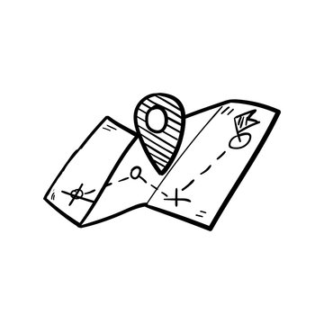 Handdrawn doodle gps map icon. Hand drawn black sketch. Sign symbol. Decoration element. White background. Isolated. Flat design. Vector illustration