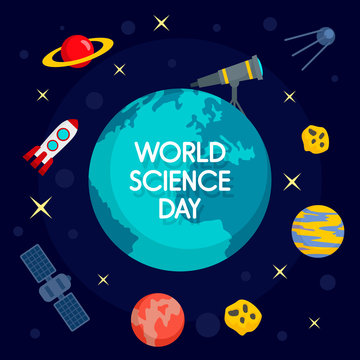 Global science day concept background. Flat illustration of global science day vector concept background for web design