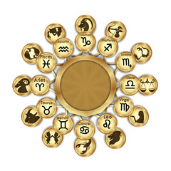 Zodiac signs designation and drawing, arranged in a circle, an isolated object on a white background.