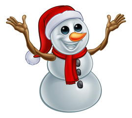 A snowman Christmas cartoon character in a Santa Claus hat