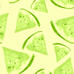 Seamless watercolor pattern with a piece of green apple, kiwi, melon, watermelon.  vintage bright drawing of a topical fruit. Watercolor summer pattern of apple, kiwi, melon, watermelon.