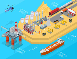 Oil Gas Industry Concept 3d Isometric View. Vector