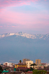 Wall Mural - Santiago de Chile, andes mountainsin the background