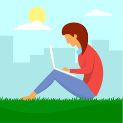 Girl outdoor distant work concept background. Flat illustration of girl outdoor distant work vector concept background for web design