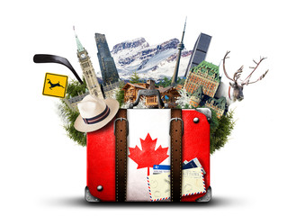Foto auf Acrylglas Kanada Canada, retro suitcase with hat and canadian attractions