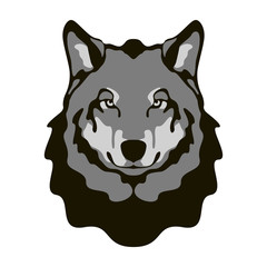 wolf  face vector illustration flat style front