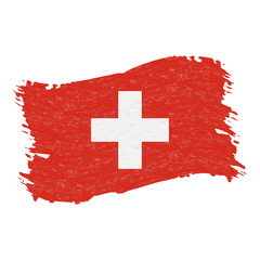 Flag of Switzerland, Grunge Abstract Brush Stroke Isolated On A White Background. Vector Illustration. National Flag In Grungy Style. Use For Brochures, Printed Materials, Logos, Independence Day