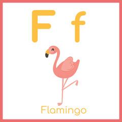Cute animal alphabet. F letter. Cute flamingo.