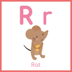 Cute animal alphabet. R letter. Cute Rat.