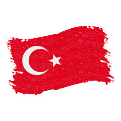 Flag of Turkey, Grunge Abstract Brush Stroke Isolated On A White Background. Vector Illustration. National Flag In Grungy Style. Use For Brochures, Printed Materials, Logos, Independence Day