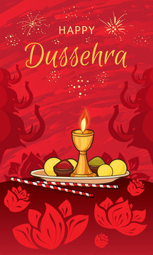 Happy dussehra concept banner. Cartoon illustration of happy dussehra vector concept banner for web design