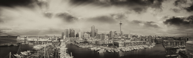 Panoramic aerial view of Auckland from helicopter, New Zealand in black and white view