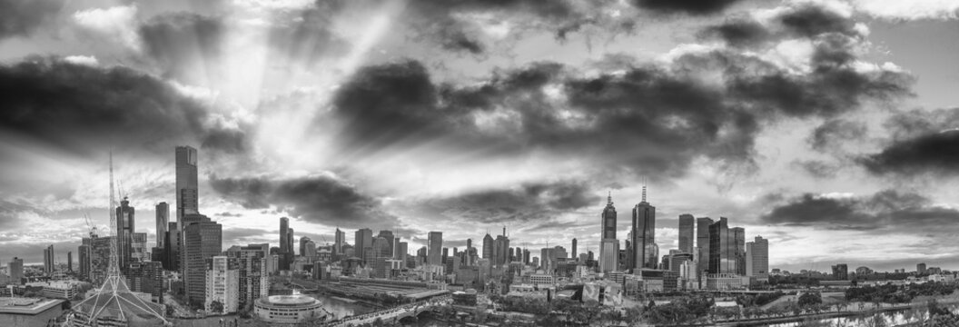 Panoramic aerial view of Melbourne from helicopter, Australia in black and white view