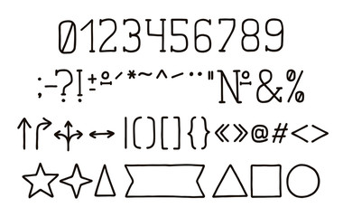 Alphabet type design. Hand pen serif font, line style. Numbers, punctuation marks. Typeface clip art, vector illustration. Hand drawn. EPS 10