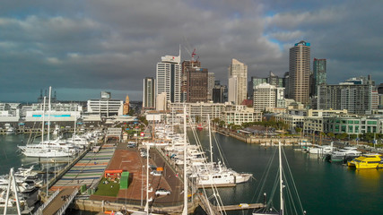 AUCKLAND, NEW ZEALAND - AUGUST 26, 2018: Aerial view of cityscape at sunset. More than 1 million tourists visit Auckland annually