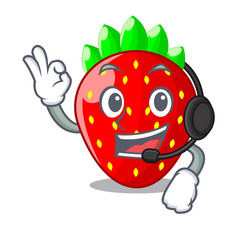 Spoed Foto op Canvas Lieveheersbeestjes With headphone fresh strawberry in a bowl cartoon