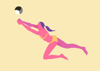 Beach volleyball. Girl in bikini returns a ball in a jump. Female figure. Image of people isolated on a yellow background. Vector illustration.