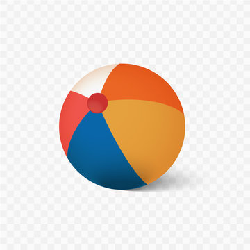 Vector beach ball with shadow on a transparent background.