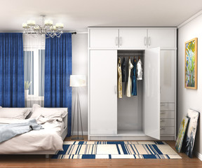 large white wardrobe in the room. 3d illustration