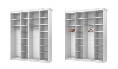 White classic wardrobe with white decor, isolated on white background. 3d illustration