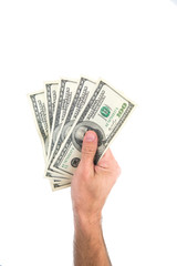 Mans hand with dollars, money isolated on a white background. Concept of giving money, spending money.