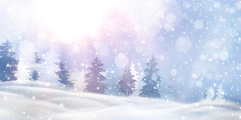 Fotomurales - Beautiful christmas, snowy woodland landscape with snow covered firs, coniferous forest, falling snow, snowflakes for winter and new year holidays. Christmas Winter background glitter.