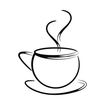 Black and white coffee cup vector with steam