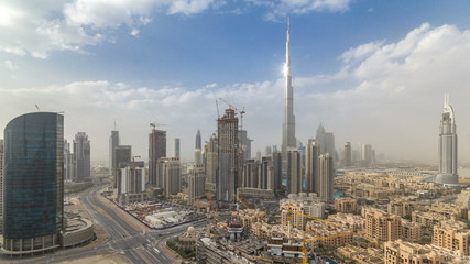 Beautiful luxury Dubai downtown aerial top view before sunset timelapse, Dubai, United Arab Emirates