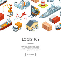 Vector isometric marine logistics and seaport background with place for text illustration
